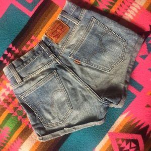 Levi's Orange Tab High Waisted Jean Shorts